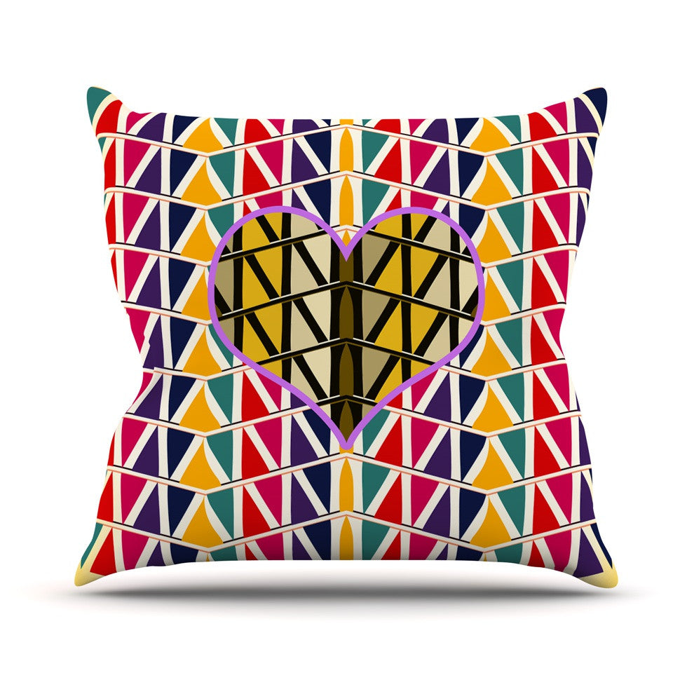 "Famenxt ""Heart in Abstract Pattern"" Geometric Abstract Outdoor Throw Pillow - KESS InHouse  - 1"