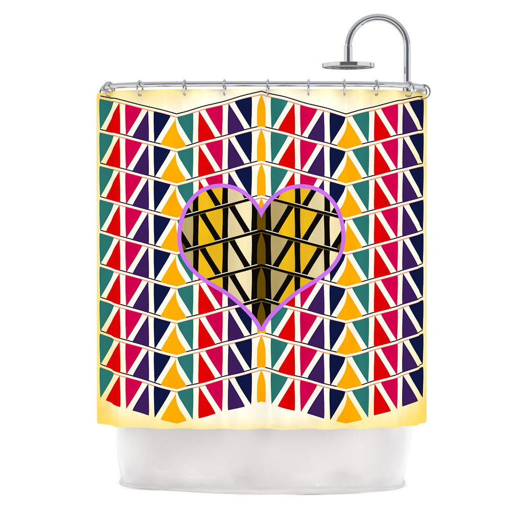 "Famenxt ""Heart in Abstract Pattern"" Geometric Abstract Shower Curtain - KESS InHouse"