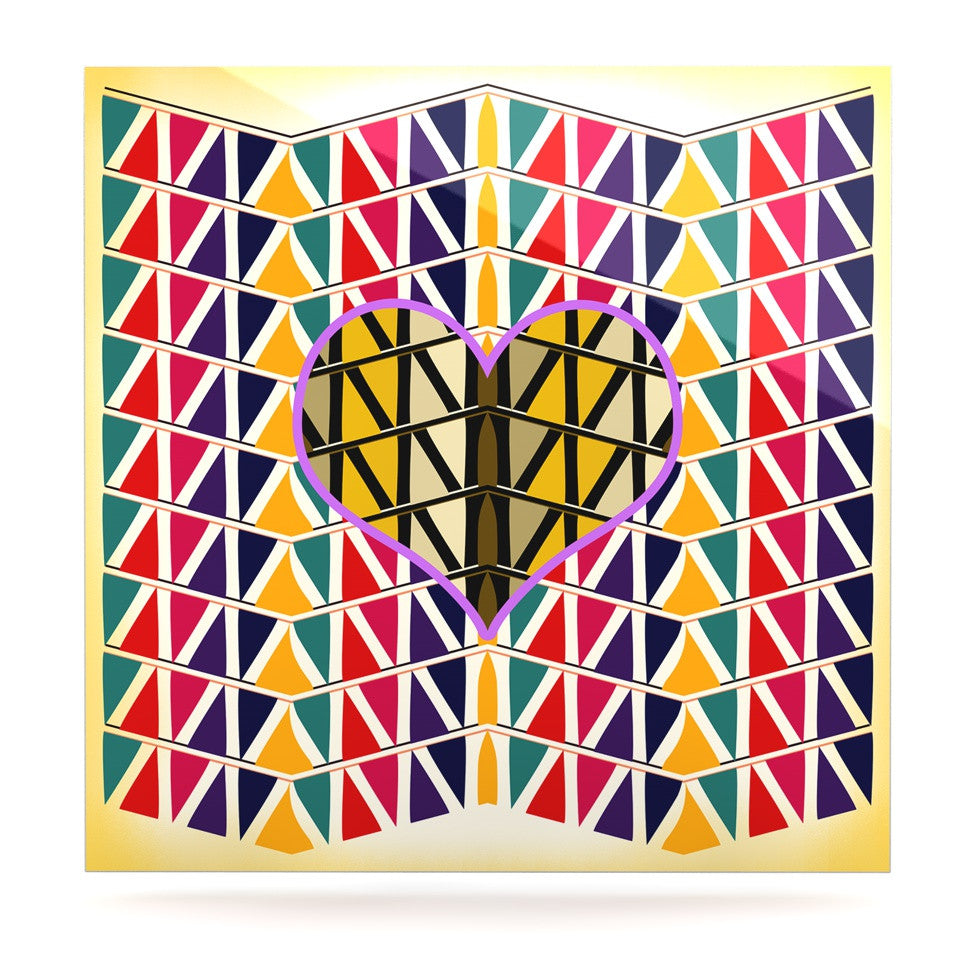"Famenxt ""Heart in Abstract Pattern"" Geometric Abstract Luxe Square Panel - KESS InHouse  - 1"
