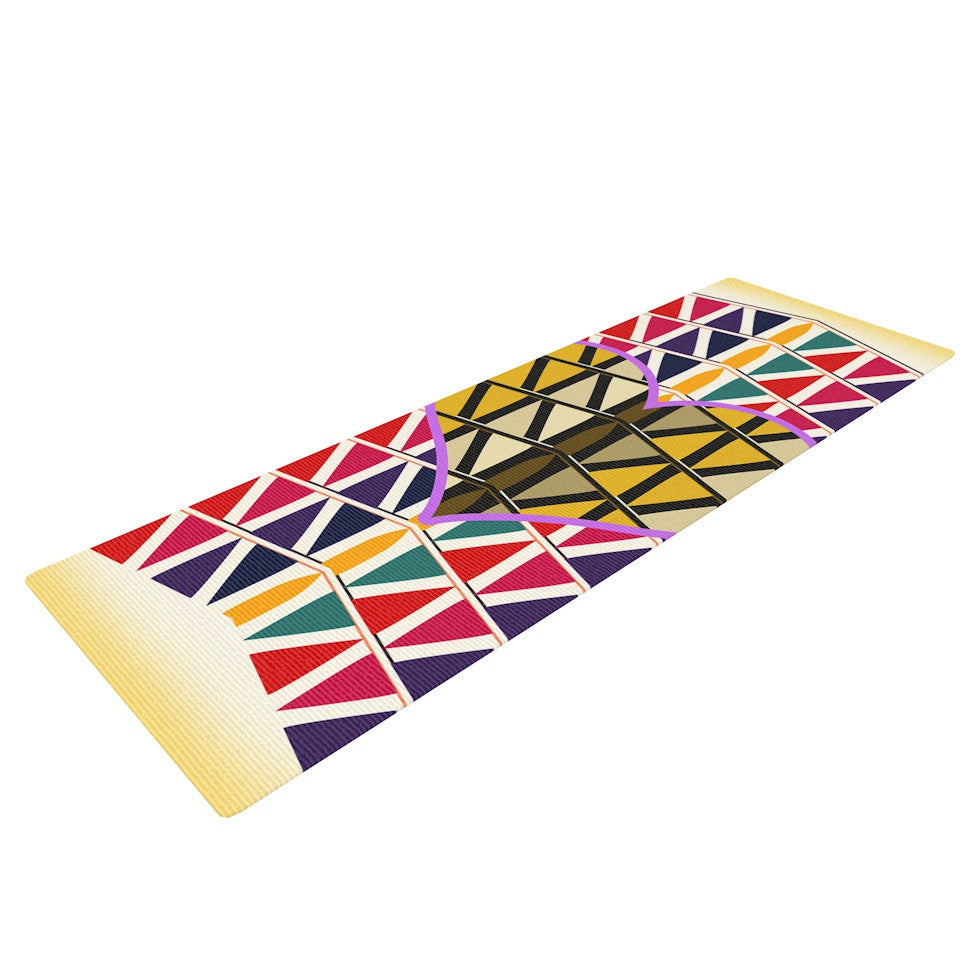 "Famenxt ""Heart in Abstract Pattern"" Geometric Abstract Yoga Mat - KESS InHouse  - 1"