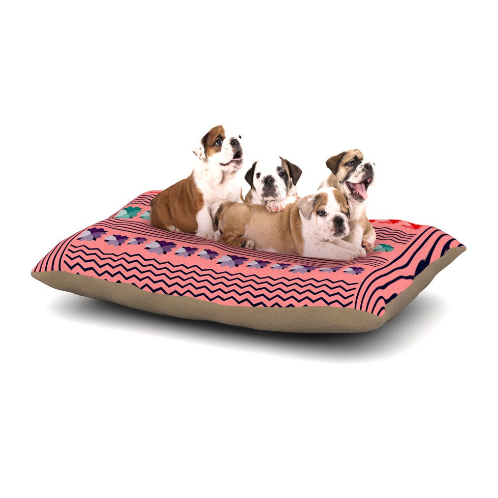 "Famenxt ""Romantic Love Pattern"" Pink Abstract Dog Bed - KESS InHouse  - 1"