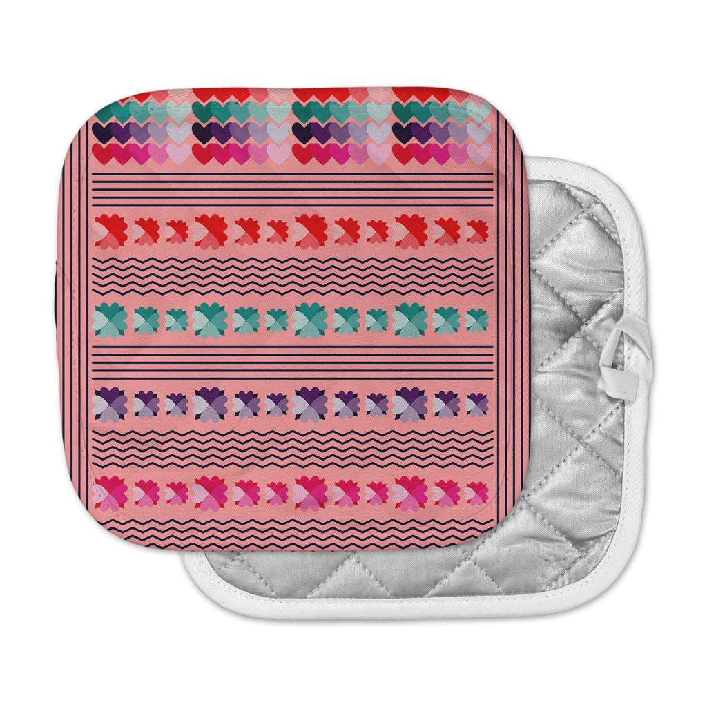 "Famenxt ""Romantic Love Pattern"" Pink Abstract Pot Holder"