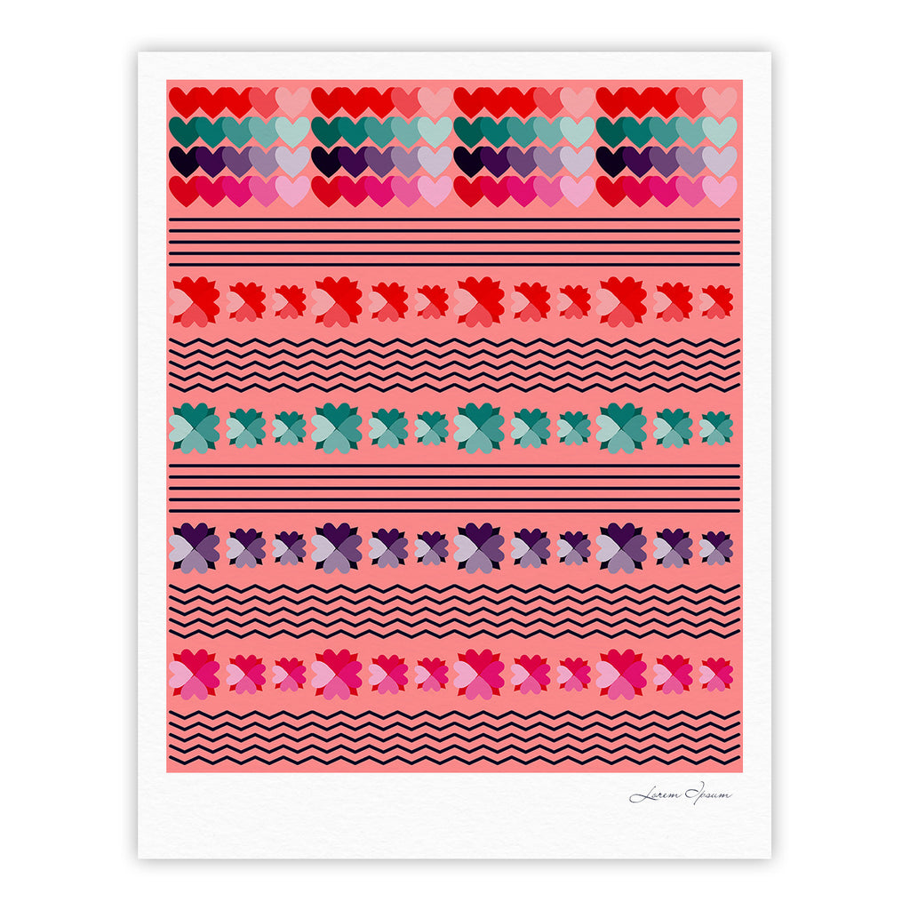 "Famenxt ""Romantic Love Pattern"" Pink Abstract Fine Art Gallery Print - KESS InHouse"