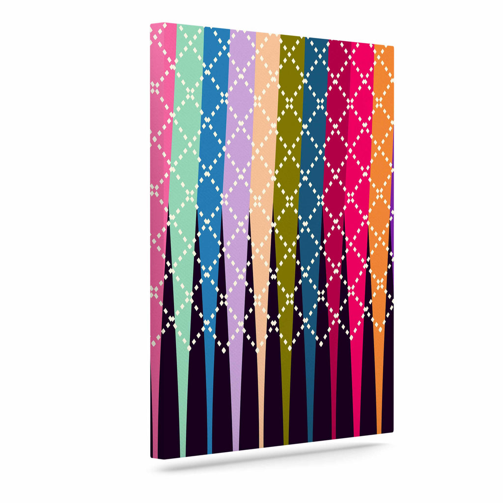 "Famenxt ""Rainbow Drops"" Multicolor Argyle Canvas Art - KESS InHouse  - 1"