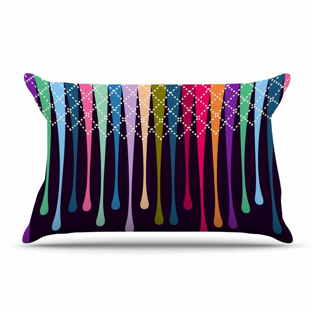 "Famenxt ""Rainbow Drops"" Multicolor Argyle Pillow Sham - KESS InHouse"