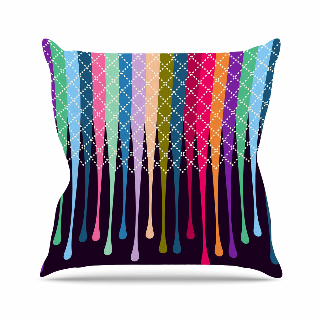 "Famenxt ""Rainbow Drops"" Multicolor Argyle Outdoor Throw Pillow - KESS InHouse  - 1"