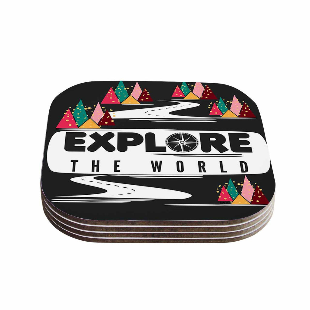 "Famenxt ""Explore the World"" Black White Coasters (Set of 4)"