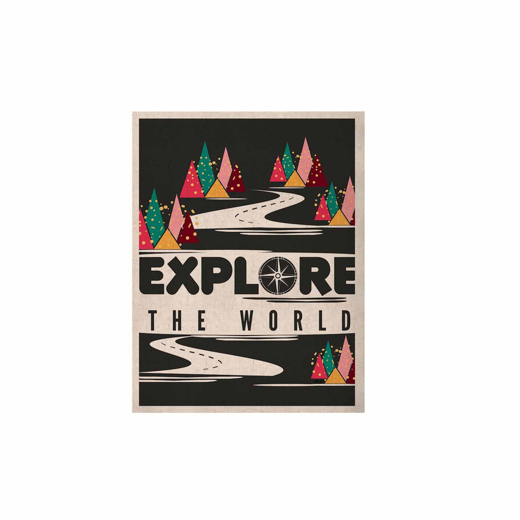 "Famenxt ""Explore the World"" Black White KESS Naturals Canvas (Frame not Included) - KESS InHouse  - 1"