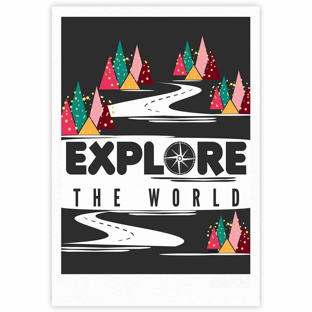 "Famenxt ""Explore the World"" Black White Fine Art Gallery Print - KESS InHouse"