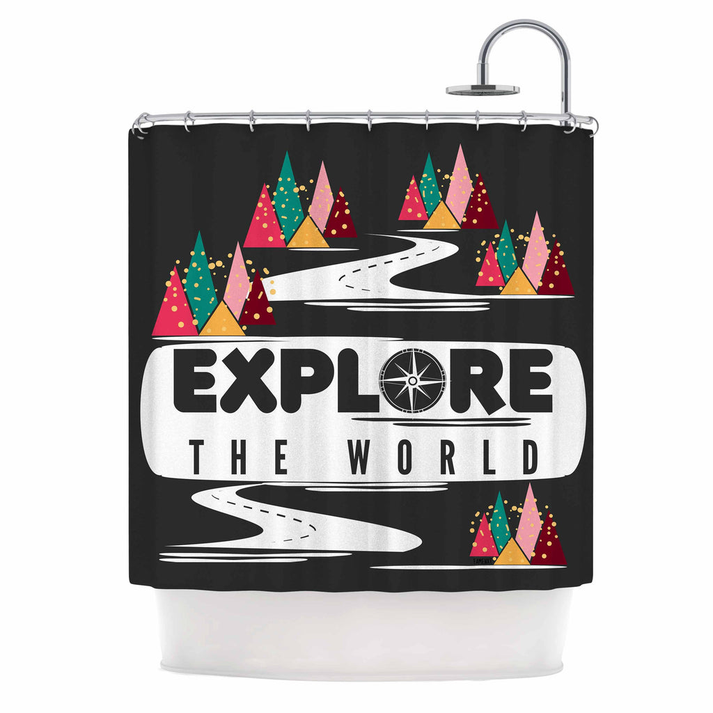 "Famenxt ""Explore the World"" Black White Shower Curtain - KESS InHouse"