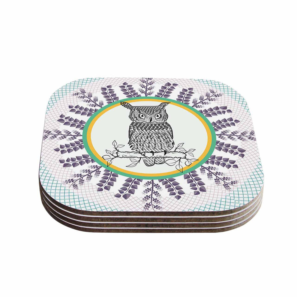 "Famenxt ""Owl"" White Purple Coasters (Set of 4)"