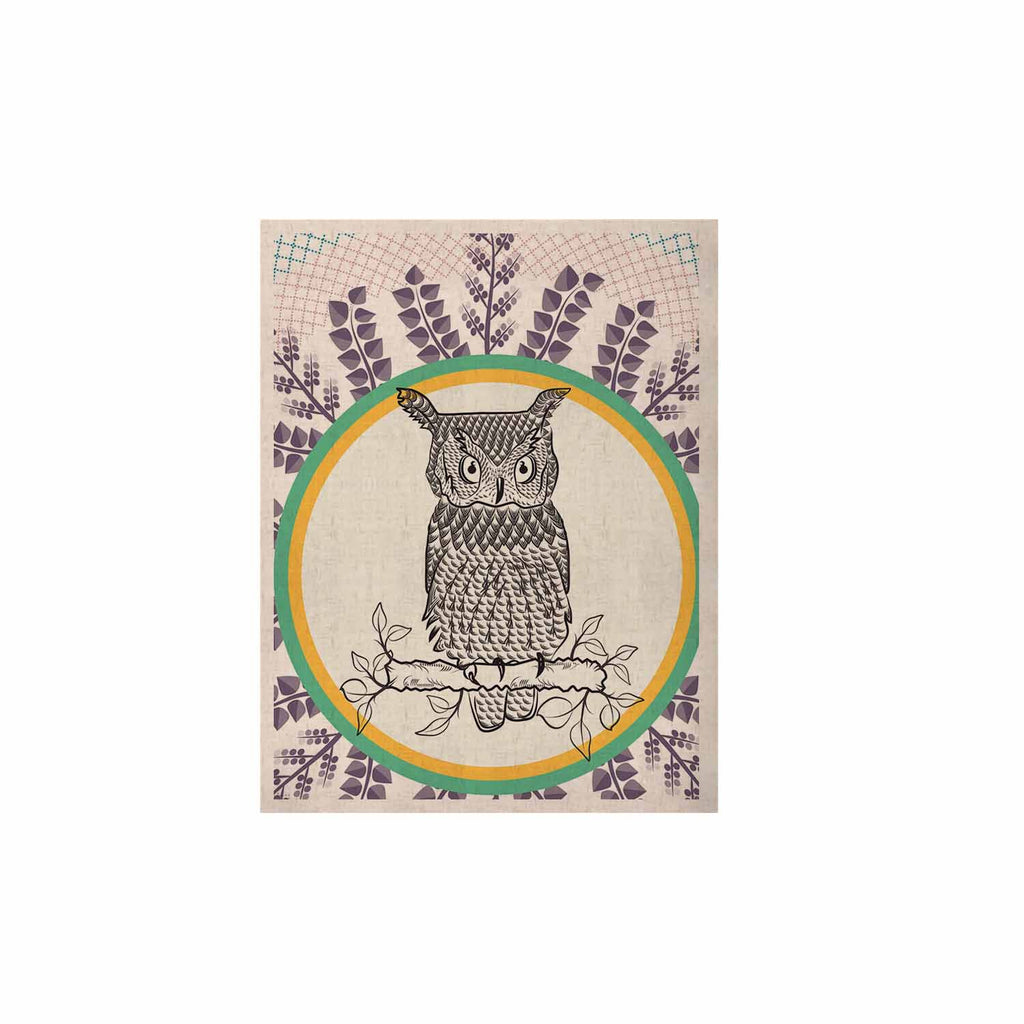 "Famenxt ""Owl"" White Purple KESS Naturals Canvas (Frame not Included) - KESS InHouse  - 1"