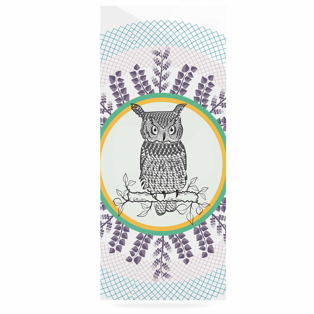 "Famenxt ""Owl"" White Purple Luxe Rectangle Panel - KESS InHouse  - 1"