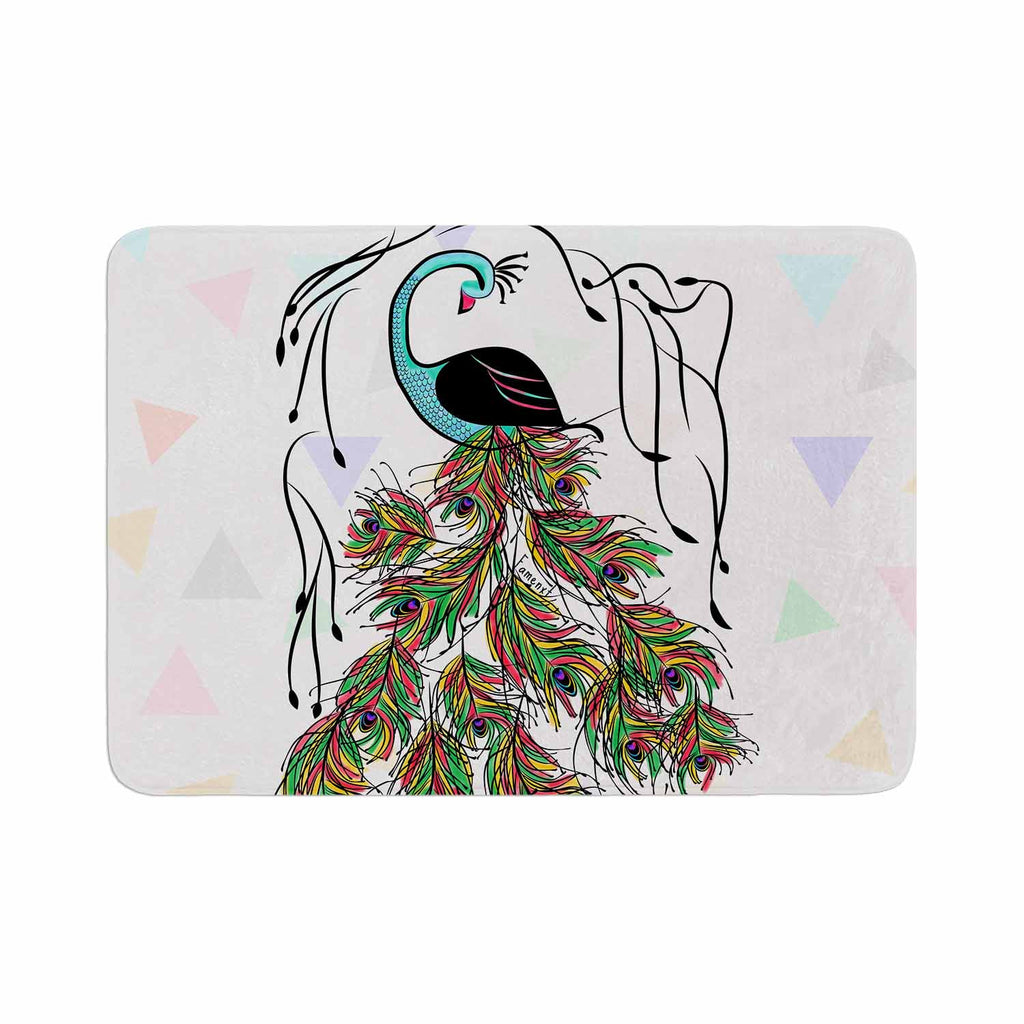 "Famenxt ""Colorful Peacock"" White Green Memory Foam Bath Mat - KESS InHouse"