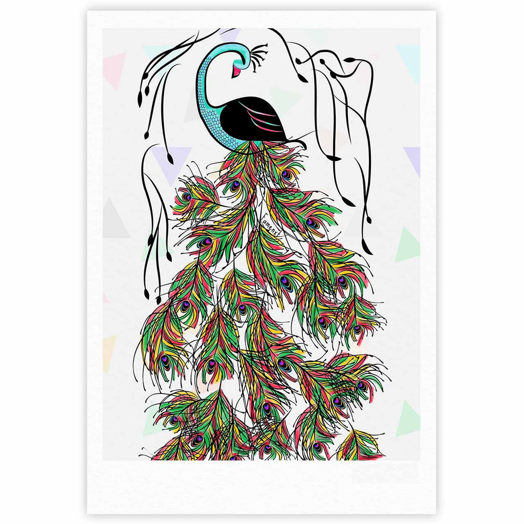 "Famenxt ""Colorful Peacock"" White Green Fine Art Gallery Print - KESS InHouse"