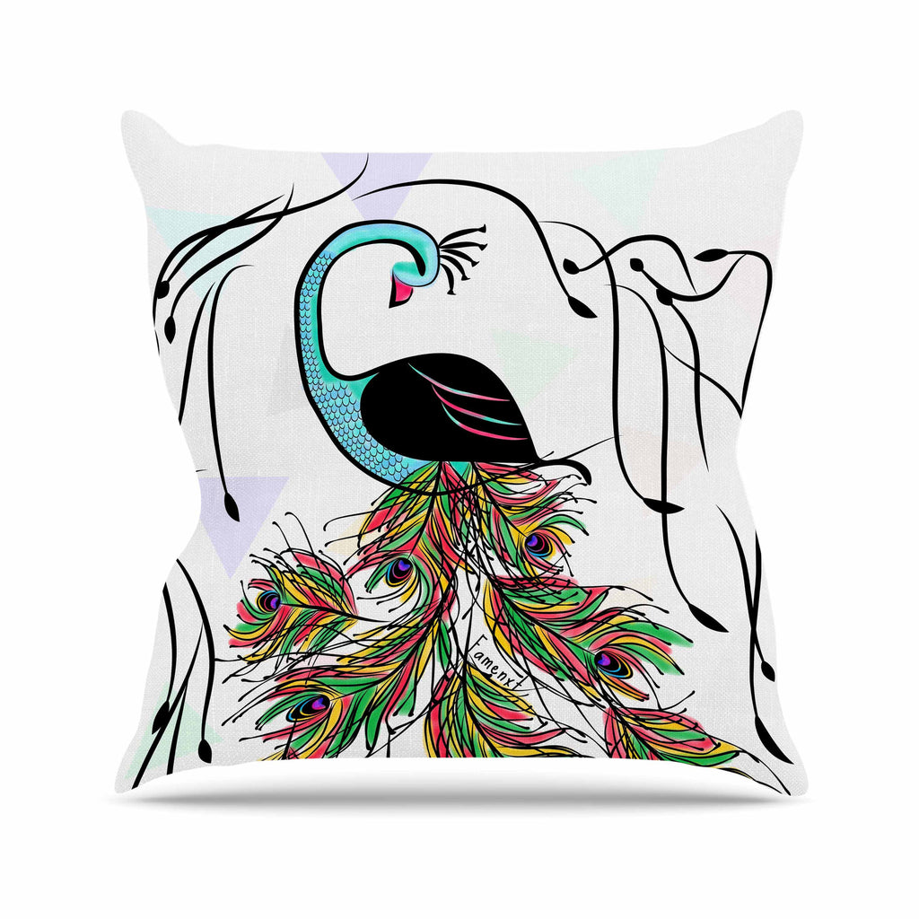"Famenxt ""Colorful Peacock"" White Green Outdoor Throw Pillow - KESS InHouse  - 1"