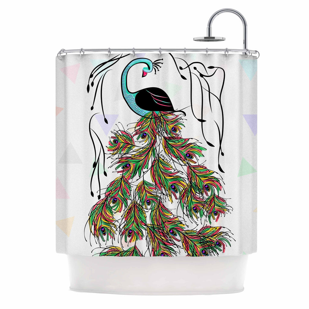 "Famenxt ""Colorful Peacock"" White Green Shower Curtain - KESS InHouse"