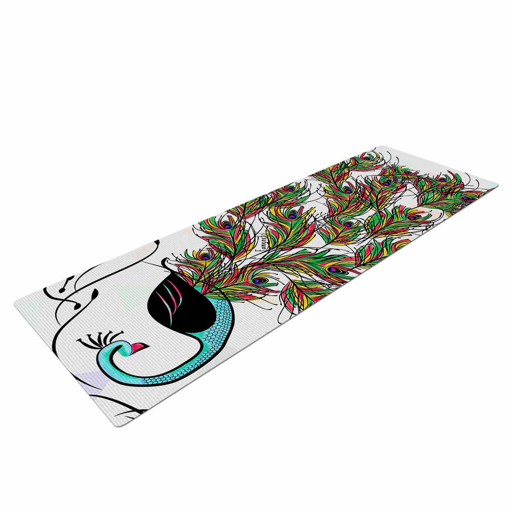 "Famenxt ""Colorful Peacock"" White Green Yoga Mat - KESS InHouse  - 1"