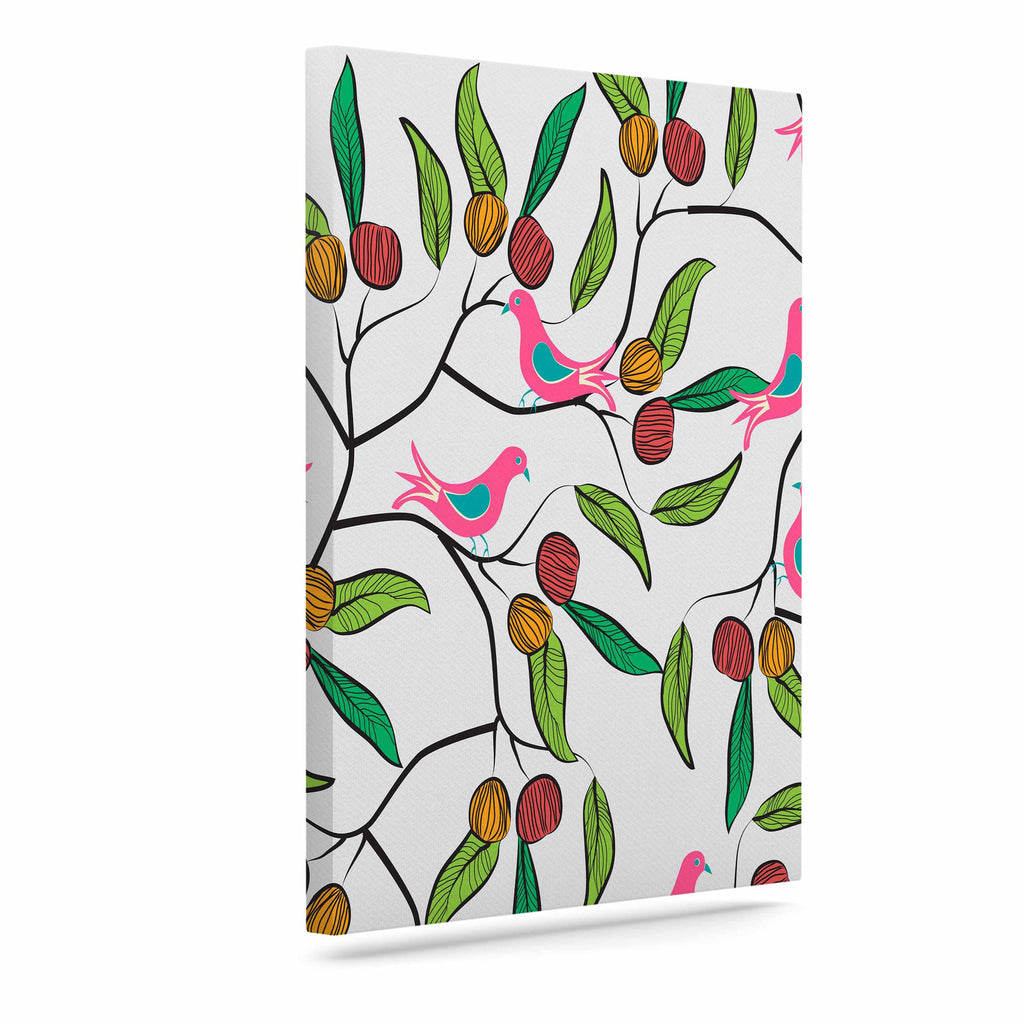 "Famenxt ""Birds World"" White Pink Canvas Art - KESS InHouse  - 1"