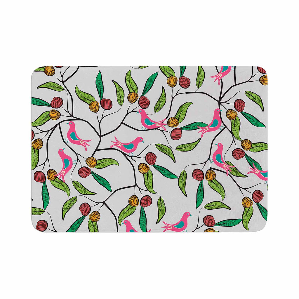 "Famenxt ""Birds World"" White Pink Memory Foam Bath Mat - KESS InHouse"