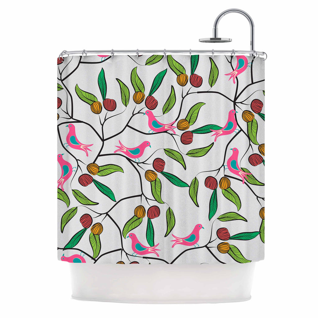 "Famenxt ""Birds World"" White Pink Shower Curtain - KESS InHouse"