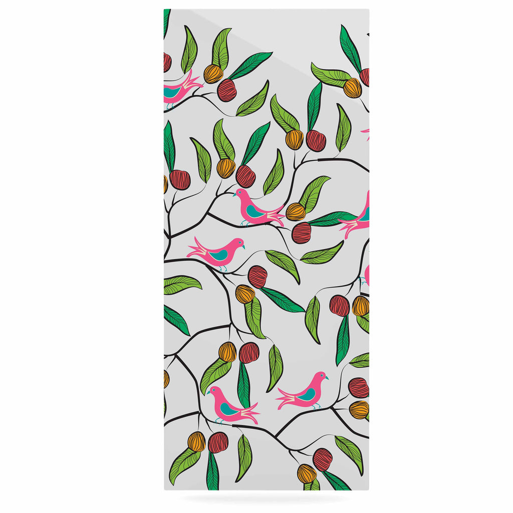 "Famenxt ""Birds World"" White Pink Luxe Rectangle Panel - KESS InHouse  - 1"