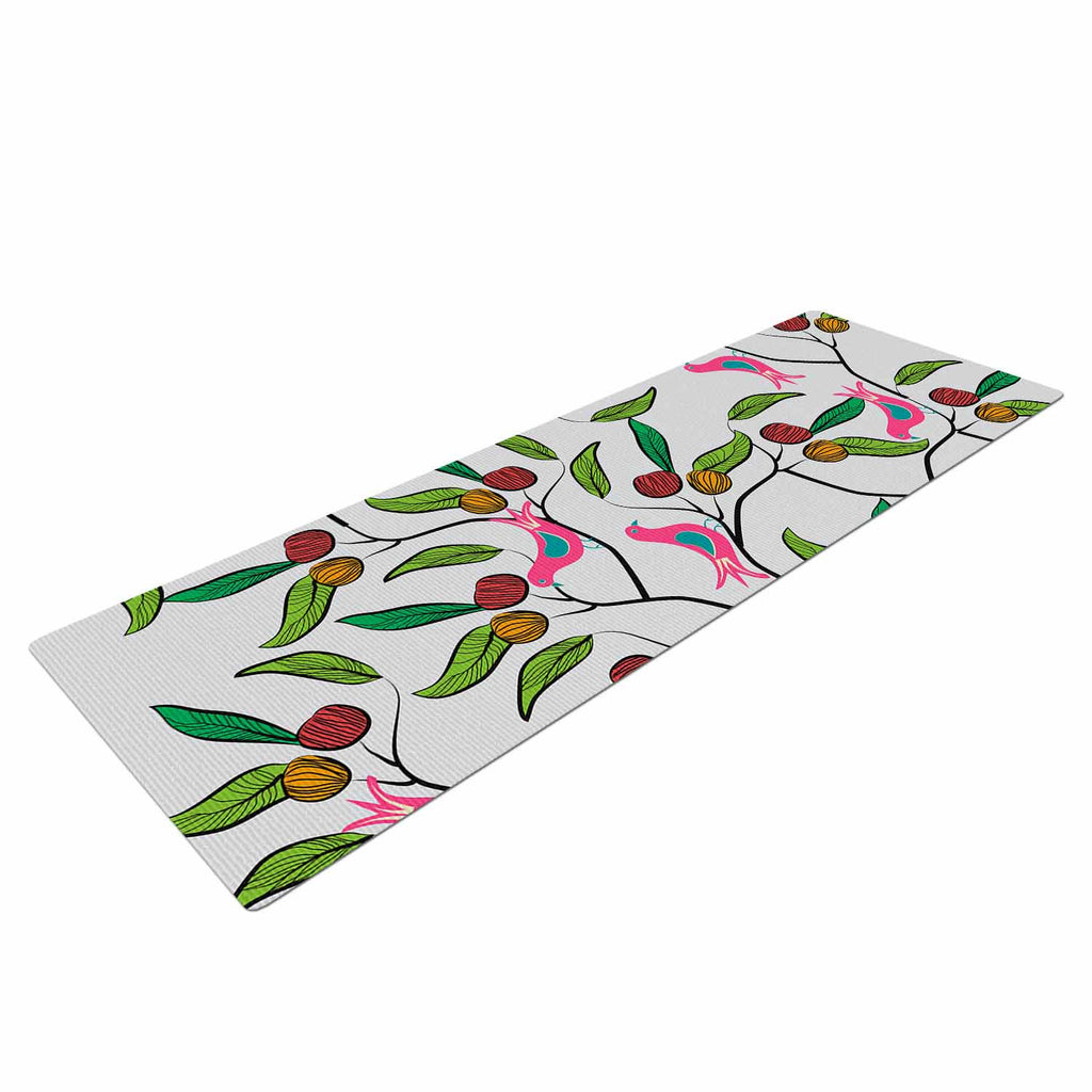 "Famenxt ""Birds World"" White Pink Yoga Mat - KESS InHouse  - 1"