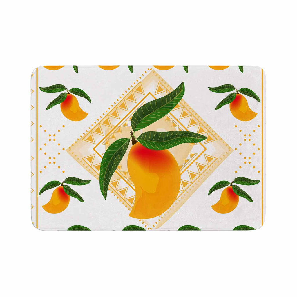 "Famenxt ""Fresh Farm Mangoes"" Orange Peach Memory Foam Bath Mat - KESS InHouse"