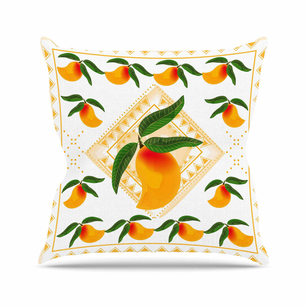 "Famenxt ""Fresh Farm Mangoes"" Orange Peach Outdoor Throw Pillow - KESS InHouse  - 1"