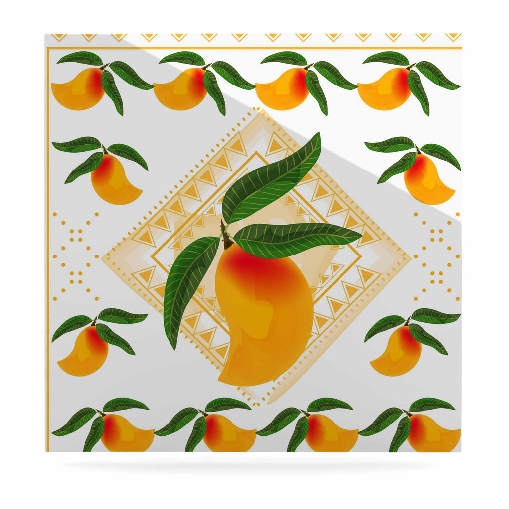 "Famenxt ""Fresh Farm Mangoes"" Orange Peach Luxe Square Panel - KESS InHouse  - 1"