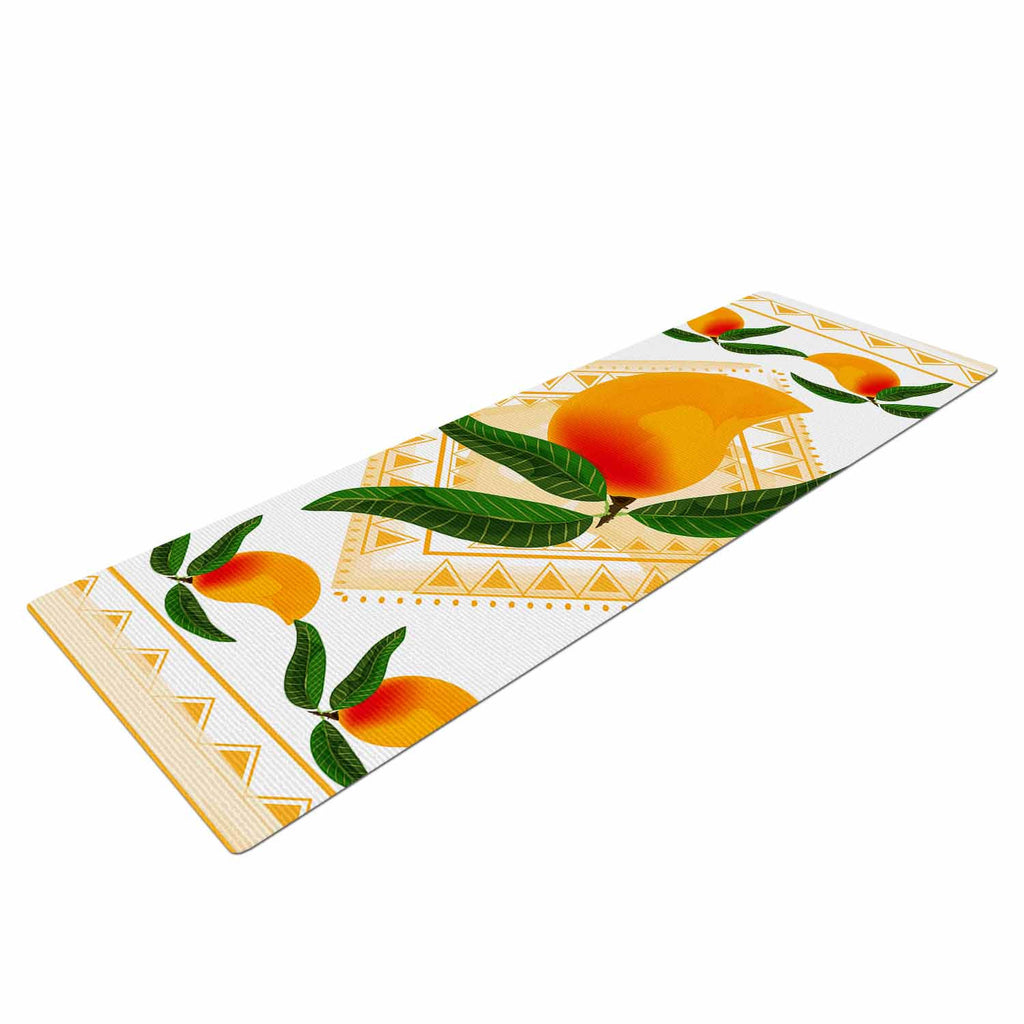 "Famenxt ""Fresh Farm Mangoes"" Orange Peach Yoga Mat - KESS InHouse  - 1"