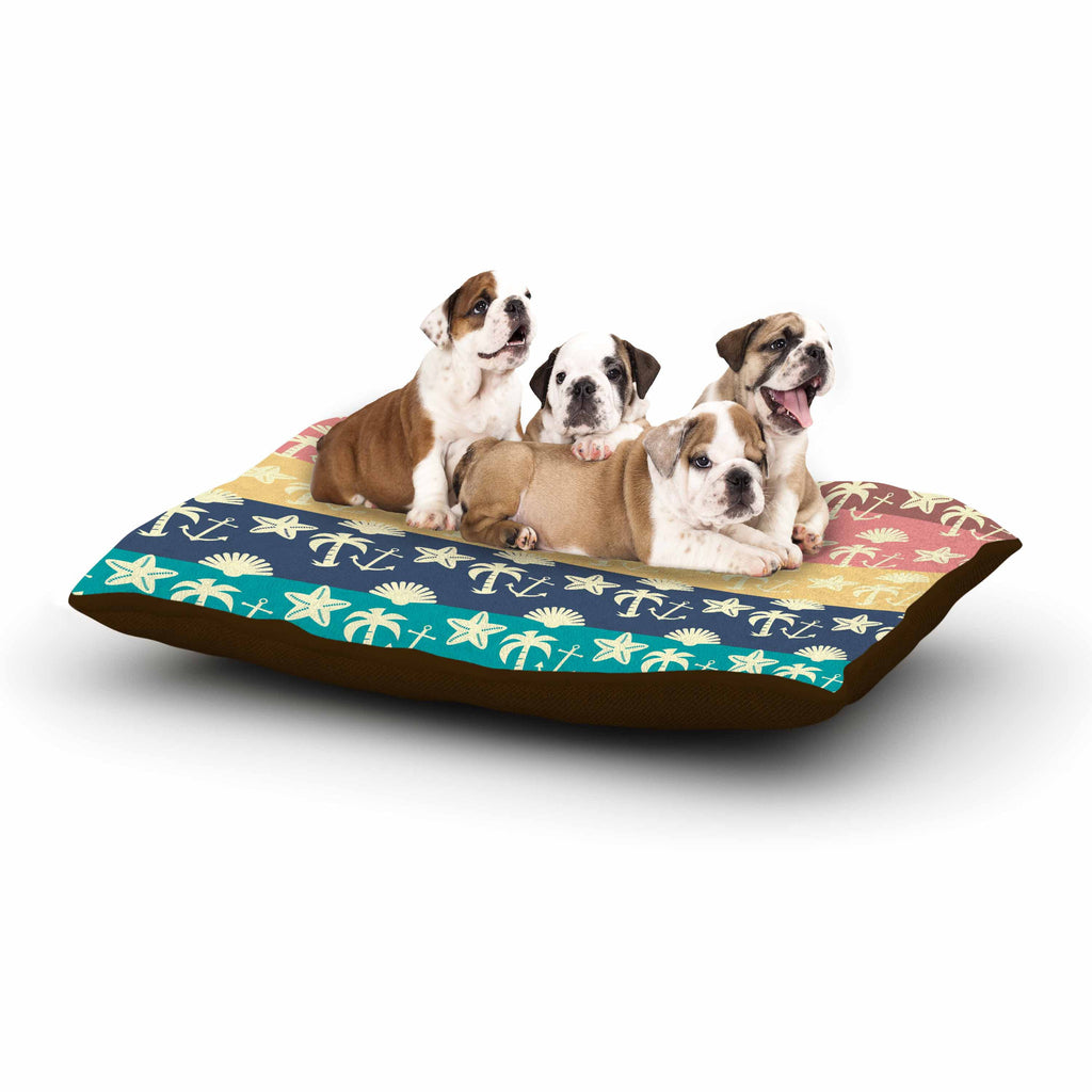 "Famenxt ""Beach and Fun"" Blue Gray Dog Bed - KESS InHouse  - 1"