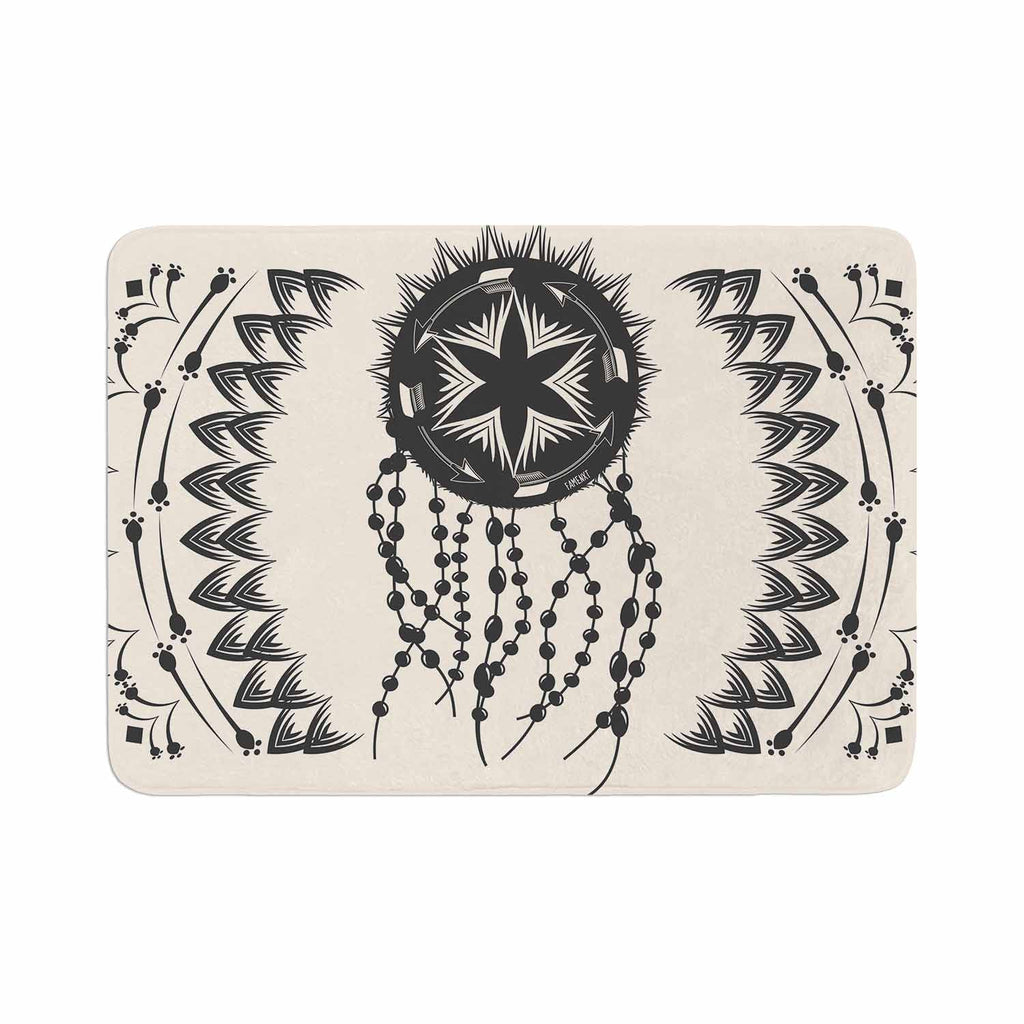 "Famenxt ""Bohemian Dream Catcher Boho"" Black Beige Memory Foam Bath Mat - KESS InHouse"