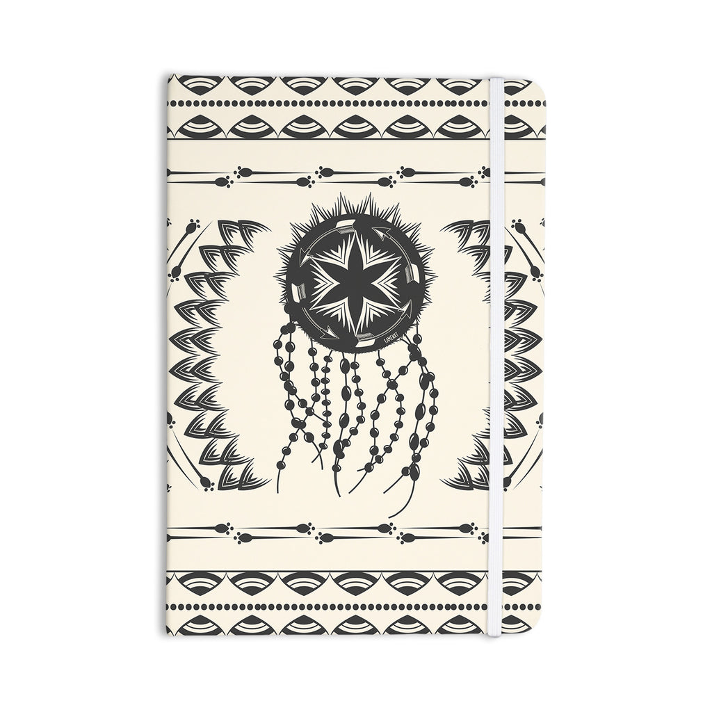 "Famenxt ""Bohemian Dream Catcher Boho"" Black Beige Everything Notebook - KESS InHouse  - 1"