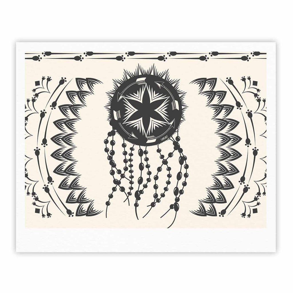 "Famenxt ""Bohemian Dream Catcher Boho"" Black Beige Fine Art Gallery Print - KESS InHouse"