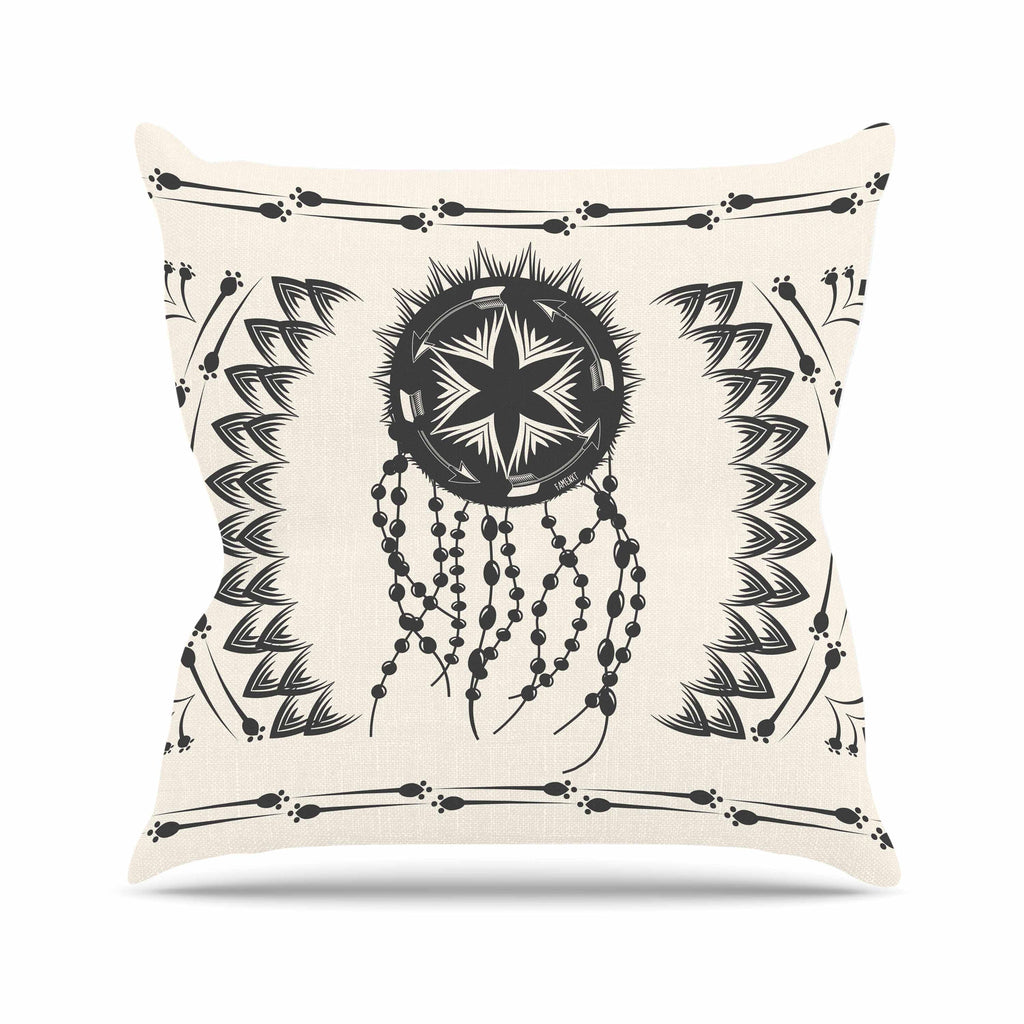 "Famenxt ""Bohemian Dream Catcher Boho"" Black Beige Throw Pillow - KESS InHouse  - 1"