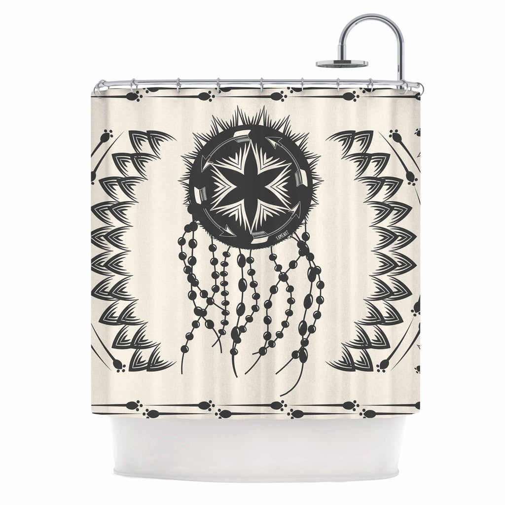 "Famenxt ""Bohemian Dream Catcher Boho"" Black Beige Shower Curtain - KESS InHouse"