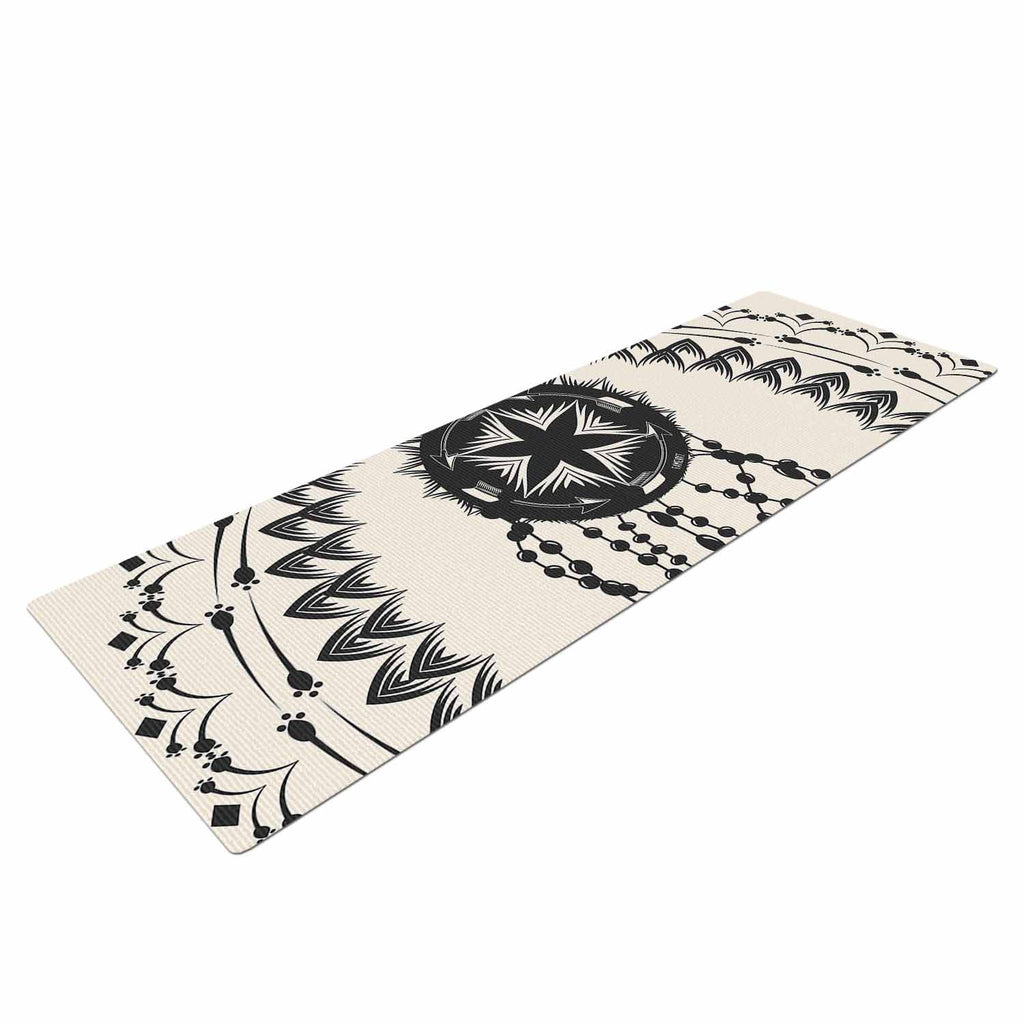 "Famenxt ""Bohemian Dream Catcher Boho"" Black Beige Yoga Mat - KESS InHouse  - 1"