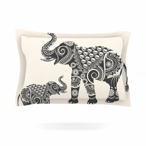"Famenxt ""Ornate Indian Elephant-Boho"" Black Beige Pillow Sham - Outlet Item"