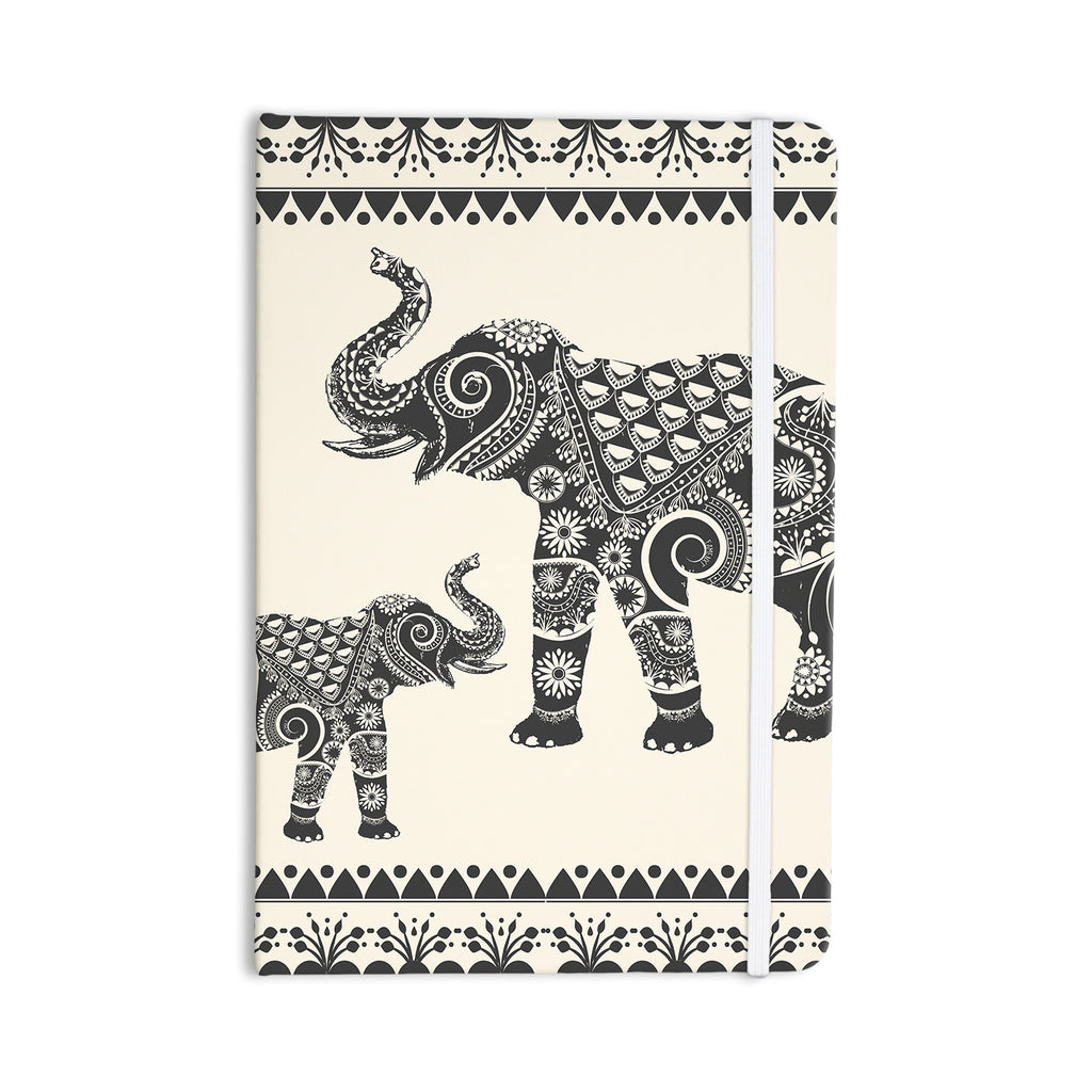 "Famenxt ""Ornate Indian Elephant-Boho"" Black Beige Everything Notebook - KESS InHouse  - 1"