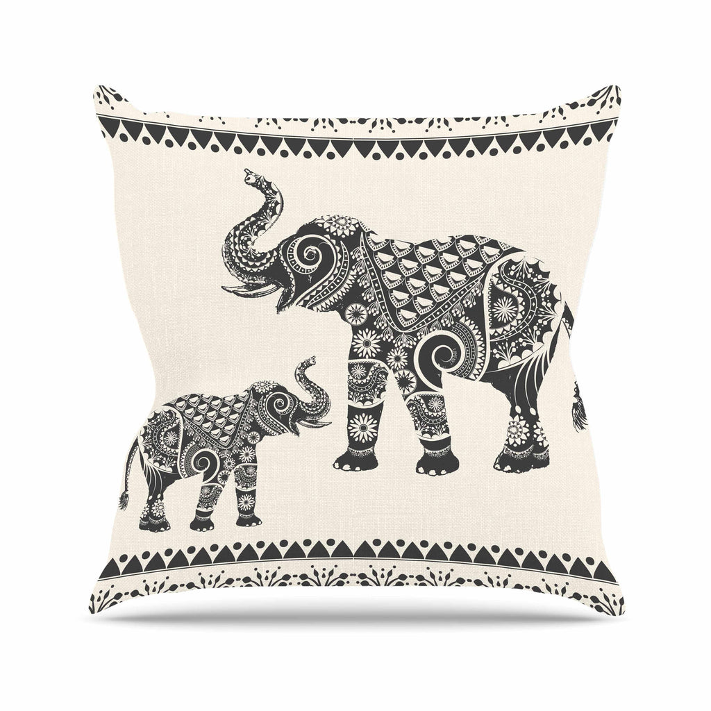 "Famenxt ""Ornate Indian Elephant-Boho"" Black Beige Throw Pillow - KESS InHouse  - 1"