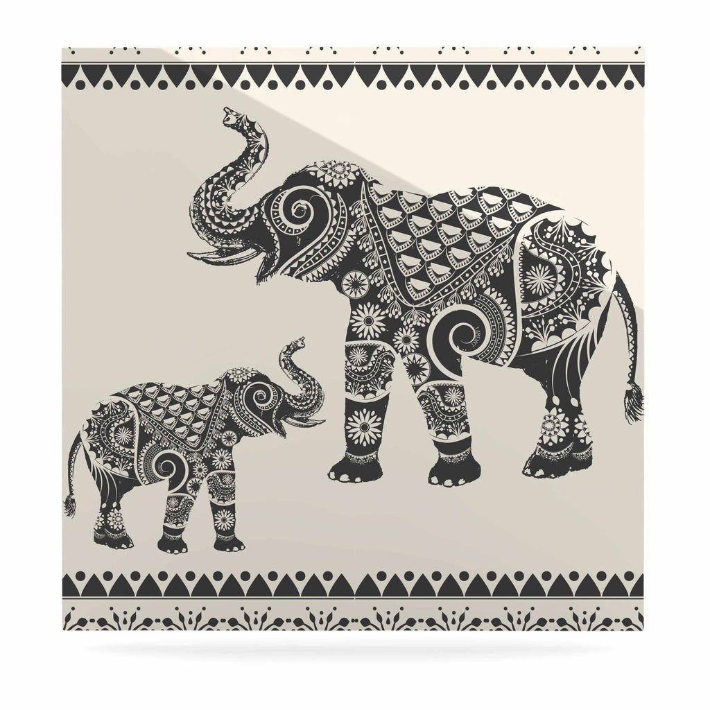 "Famenxt ""Ornate Indian Elephant-Boho"" Black Beige Luxe Square Panel - KESS InHouse  - 1"
