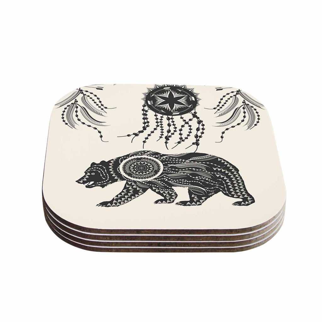 "Famenxt ""Boho Ornate Bear"" Beige Black Coasters (Set of 4)"
