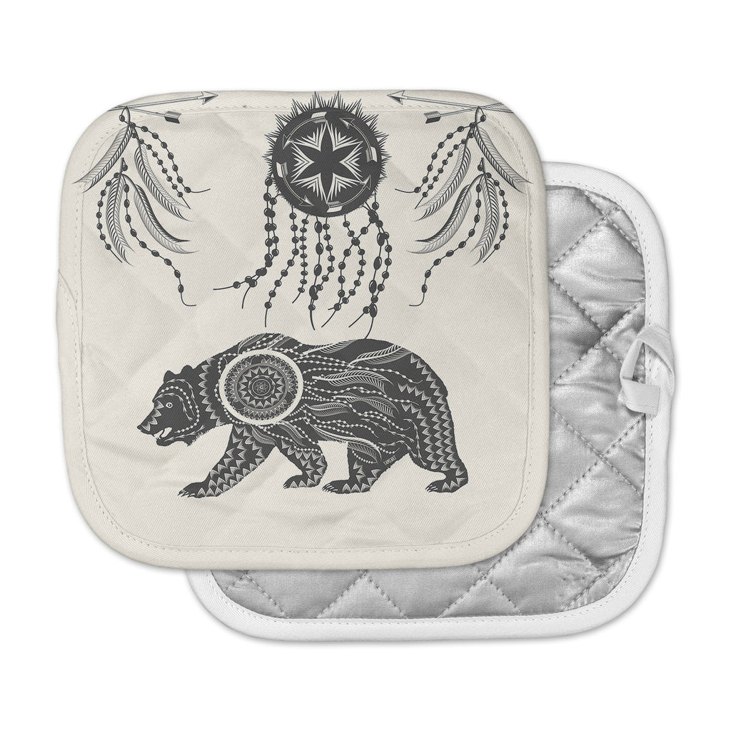 "Famenxt ""Boho Ornate Bear"" Beige Black Pot Holder"