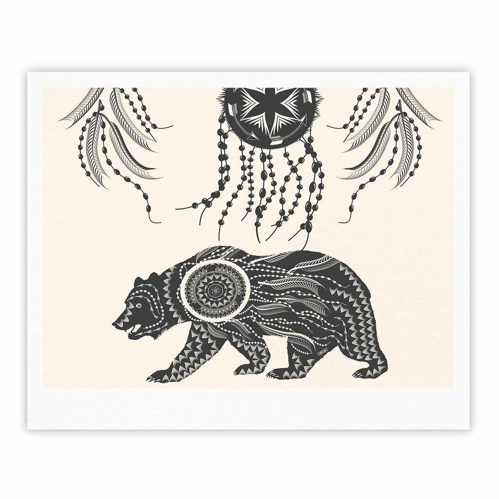 "Famenxt ""Boho Ornate Bear"" Beige Black Fine Art Gallery Print - KESS InHouse"