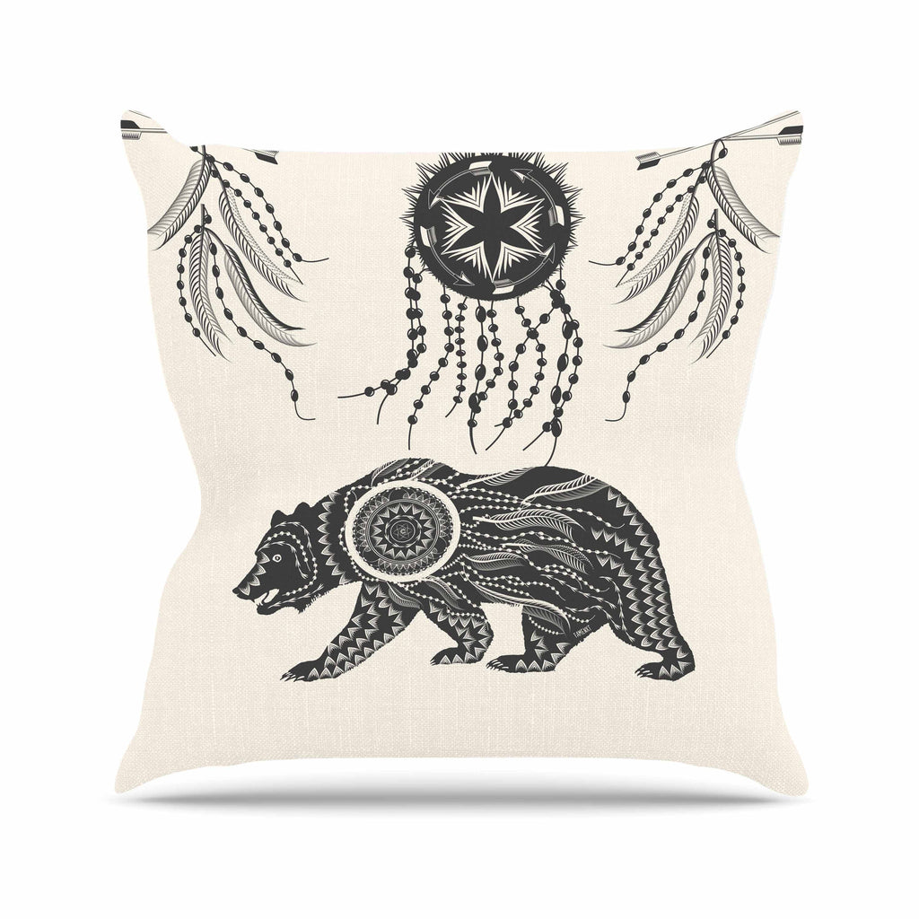 "Famenxt ""Boho Ornate Bear"" Beige Black Outdoor Throw Pillow - KESS InHouse  - 1"