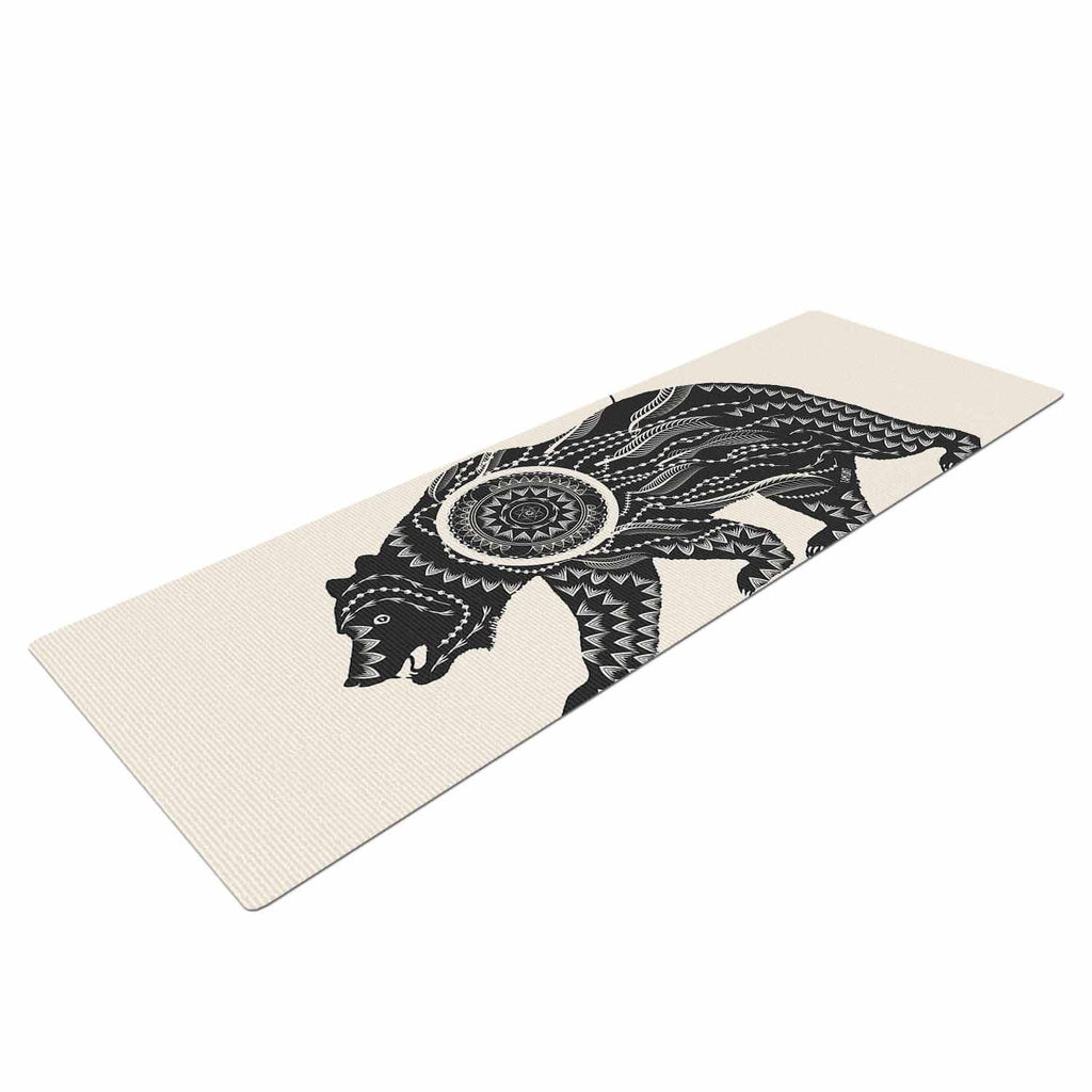 "Famenxt ""Boho Ornate Bear"" Beige Black Yoga Mat - KESS InHouse  - 1"