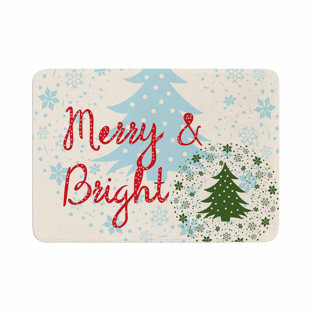 "Famenxt ""Merry And Bright"" Holiday Typography Memory Foam Bath Mat - KESS InHouse"