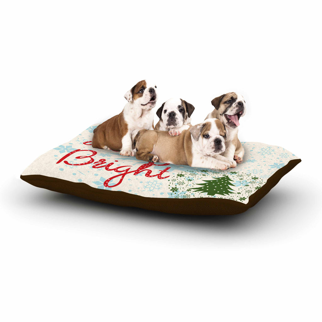 "Famenxt ""Merry And Bright"" Holiday Typography Dog Bed - KESS InHouse  - 1"
