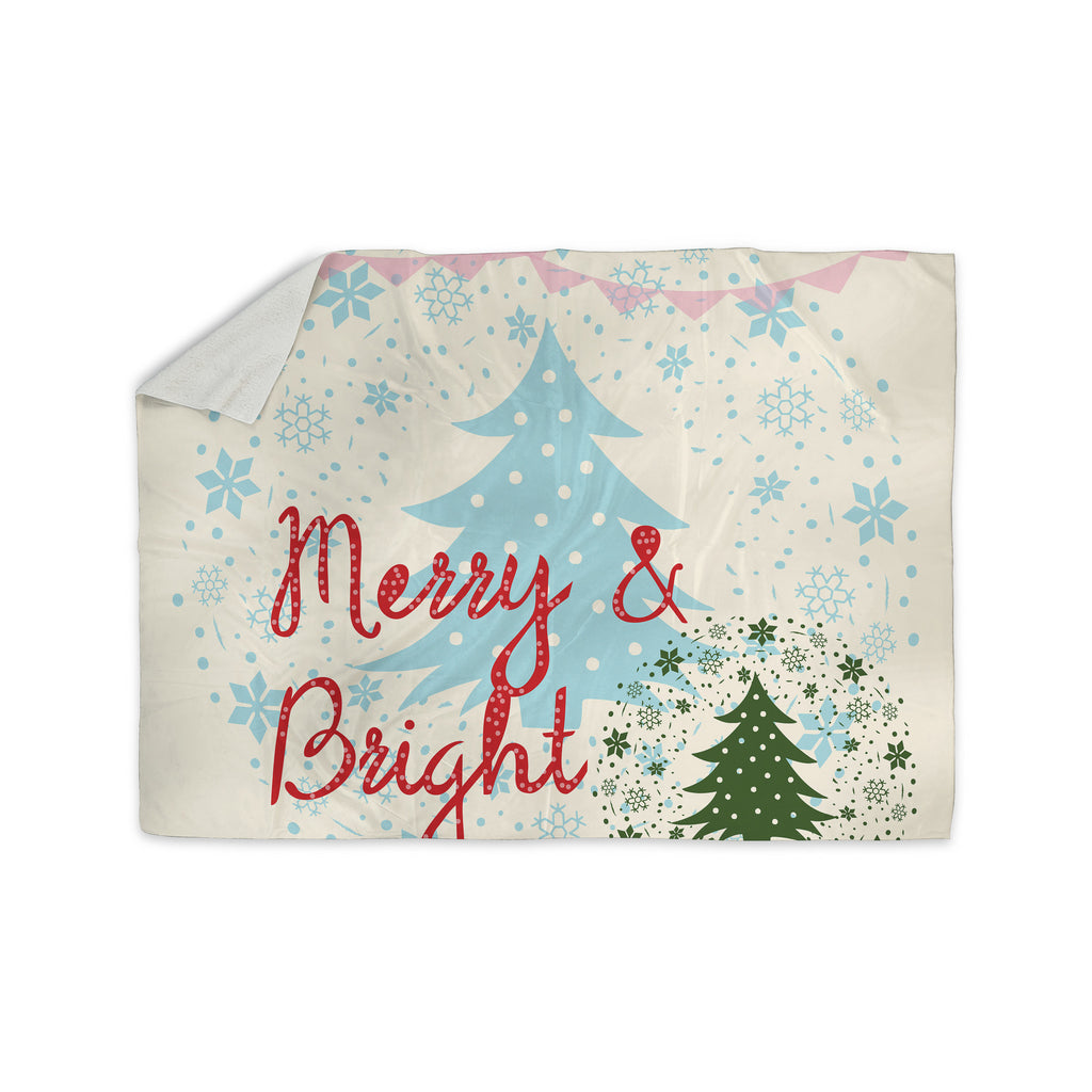 "Famenxt ""Merry And Bright"" Holiday Typography Sherpa Blanket - KESS InHouse  - 1"